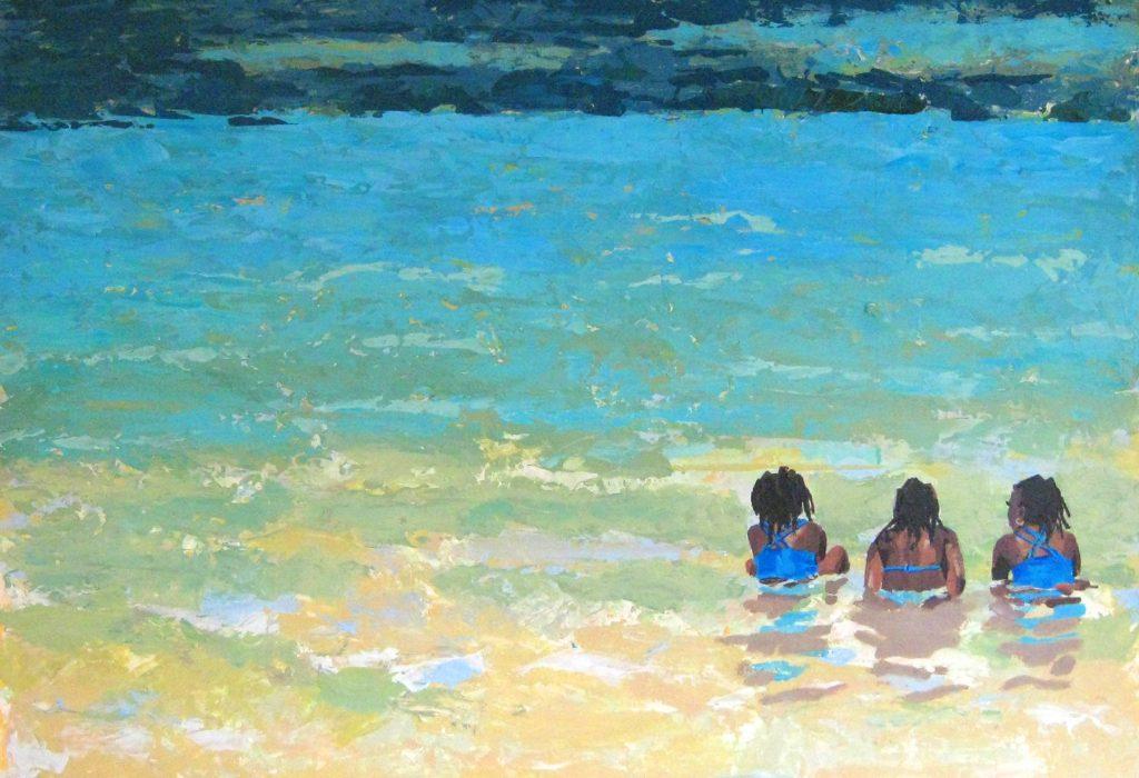 peinture trois filles dans l'eau